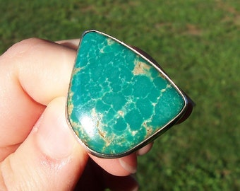 Vintage Sterling Silver Native American HUGE Green Royston Turquoise Ring Signed Do