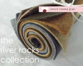 9x12 Wool Felt Sheets - The River Rocks Collection - 8 Sheets of Felt