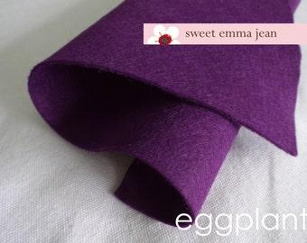 Wool Felt 1 yard cut - Eggplant - purple wool blend felt