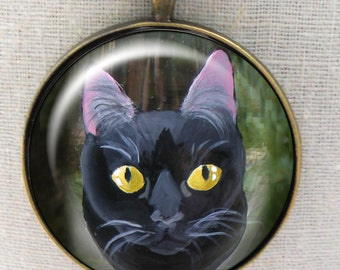 Black Cat Keychain ~ Cat Keyring ~ Pet Keepsake ~ January Birthday ~ Cat Painting ~ Gifts for Her