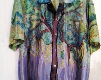 Men's woodland shirt custom hand painted silk
