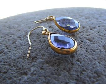 Gold Layered Blue Purple Tanzanite Hydro Quartz Earrings on Gold Filled Hooks