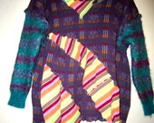 Purple and teal upcycled pullover sweater fits L XL