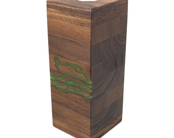 Small Box Vase in Walnut with Green Resin Inlay -  Wedding Gift, 5th Anniversary Gift, House Warming Gift
