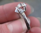 Solitaire Herkimer Diamond set on Thin Sterling Silver Band - Ring Size 8