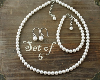 Bridal Party Jewelry, Set of 5, Swarovski Pearl 3 Piece Sets, Necklace, Earrings, and Bracelet, You Choose your Color, Bridal Party Set