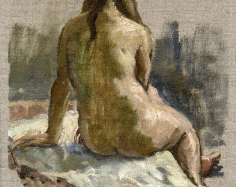 Female Nude, Back. Small Original 8x10 Oil Painting on Unstretched Canvas, Realist Figure Study, Signed Original Fine Art