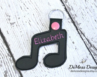 Personalized Music Note Keychain, Bag Tag, Monogrammed, Custom Made, Vinyl, with Snap