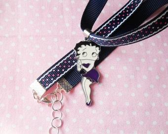 Retro Choker, Vintage Choker, Ribbon Choker, Betty Boop Choker, Betty Boop Necklace, Cute Choker, Polka Dots, Womens Gift, Vintage Fashion