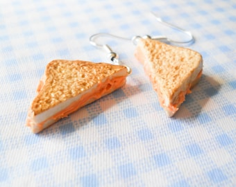 Grilled Cheese Earrings, Food Earrings, Polymer Clay Earrings, Grilled Cheese, Sandwich Earrings, Kawaii Earrings, Miniature Food Earrings