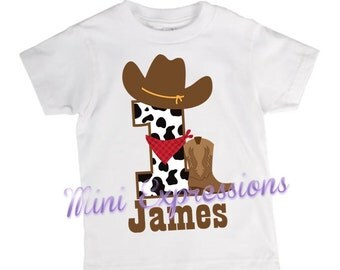 Cowboy Birthday shirt or onesie  Personalized just for you