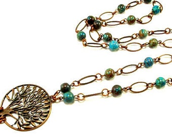 Lanyard - Antique Copper Tree of Life with Blue Sky Jasper