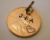Initials Charm Pendant: Boyfriend Girlfriend Gift, Custom Year & Couples Initials, Anniversary, Luck; Keychain / Necklace, 1959 - 2017 PENNY