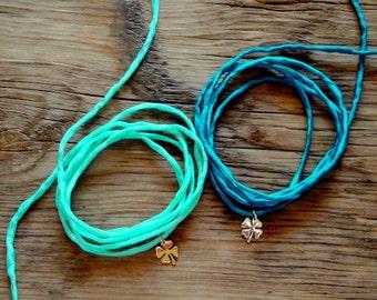 Four Leaf Clover Charm Silk Wrap Wish Bracelet