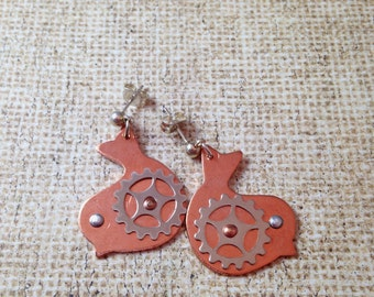 Copper Bird with Silver Gear Steampunk Earrings
