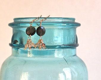 Semi Precious Stone Earrings / Gold Dangle Earrings / Swarovski Crystal Jewelry / Crystal Bicones / Smoky Quartz Jewelry / Handmade / Lucy