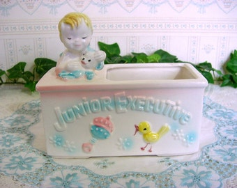 Vintage 50s INARCO Baby Boy Planter -Junior Executive -Great for Nursery Container -Bird Rattle Teddy Bear Foil Label Made in Japan