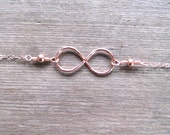 Rose Gold Infinity Necklace, Handmade Hammered Infinity Symbol Pendant, Pink Gold Jewelry, Minimalist Design Layering Necklace