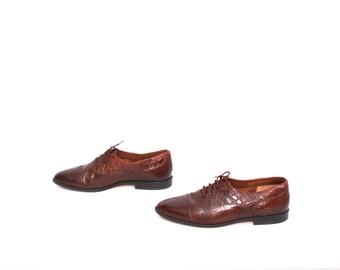 mens size 9.5 GIORGIO BRUTINI oxblood leather 80s OXFORD slip on loafers