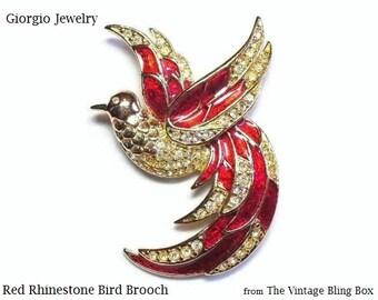 Giorgio Rhinestone & Red Enamel Bird of Paradise Brooch in Pave Set Gold Figural Motif - Vintage 70's Designer Costume Jewelry