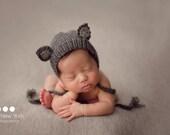 Newborn photo prop, newborn hat, newborn boy, newborn girl, newborn props,  Newborn fox cat wolf fawn hat. Newborn photography prop.