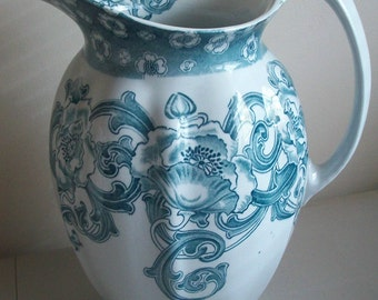Antique Vintage Collectible Transferware Transfer Ware Large Blue Pitcher Excellent Condition