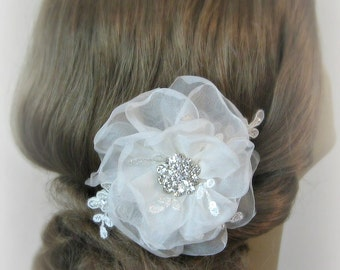 Ivory Hair Flower, Bridal Fascinator, Bridal Flower, White, Off-White, Champange and Custom Colors - MOLLY