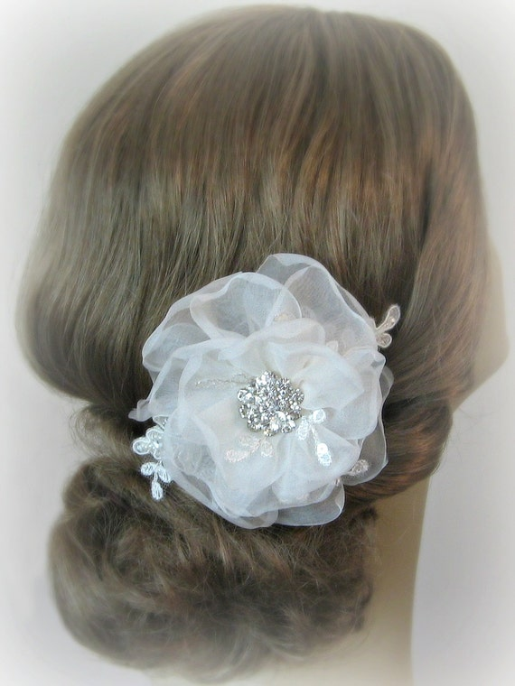 Ivory Hair Flower, Bridal Fascinator, Bridal Flower, White, Off-White, Champange and Custom Colors - MOLLY