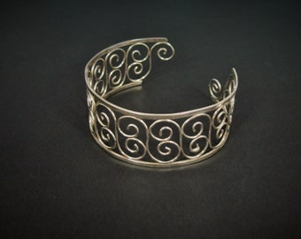 Silver Scrollwork Bangle Cuff