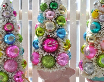 Easter Bunny Sneak Peak Bottle Brush Tree Pink vintage glass Christmas ornaments chic Easter parade Valentine glitter shabby bottlebrush