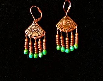 Copper Chandelier Tribal Earrings