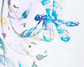 Mother's Day fine art gift DragonFly Watercolor giclee  8x12 print