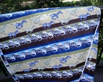 1970's Vintage Polyester Fabric with Stripe Pattern Zebras African Tribal Ethnic Folk Costume 14 LA