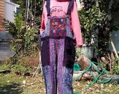 100 percent hemp overall with indigo batik/embroidery for Men