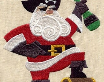 Christmas Pirate Santa Embroidered White Towel or Quilt Block Square, Whimsical