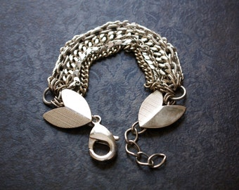 Chunky Vintage Silver Multi Chain Statement Bracelet with Large Chevron Links
