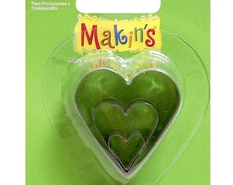 Makin's Clay Cutter Mold Set 3 Sizes Per Package  HEART M360-7 Cutters Valentine
