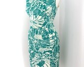Vintage 80's Jones New York Wiggle Dress Teal & White Floral Print Size 14