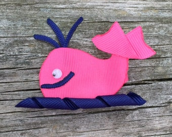 Whale Hair Clip, Hot Pink and Navy Whale Hair Bow, Preppy Whale Hair Accessories, Whale Ribbon Sculpture Hair Clip, Nautical Hair Clips