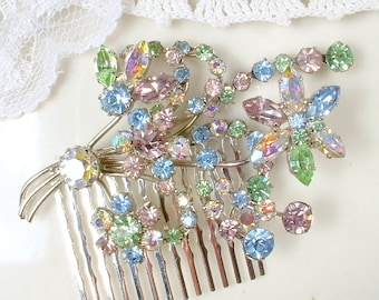 Vintage Pastel Pink, Mint Green, Blue, Yellow Rhinestone Bridal Hair Comb Silver Floral Spray Brooch to OOAK Hairpiece Romantic Accessory
