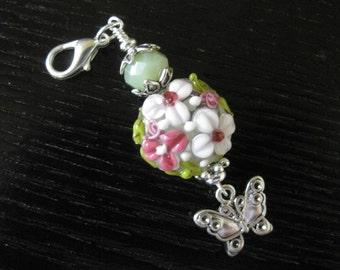 Flower Garden & Butterfly Purse Charm Zipper Pull
