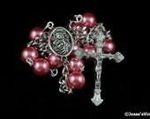 Auto Rosary Pocket Dark Mauve Pearl Glass Bead 1 Decade Silver