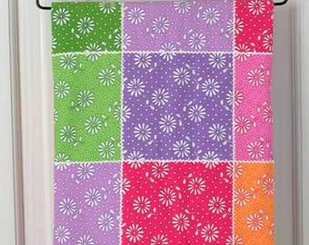 Baby Girl Quilt / Hand Quilted / Wholecloth / 34 by 46 inches / New Baby Gift / Multi-Colored / Floral / Ric Rac / Bright Colors / Baby Girl