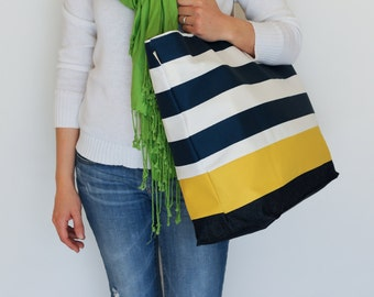 EXTRA Large Beach Bag // Tote in Navy Horizontal Stripes with Yellow Stripe and Indigo Denim, Monogram Available