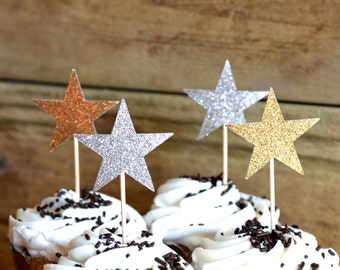 12 Glitter Star Cupcake Toppers in blue, bronze, gold, pink, hot pink, silver, or red - custom colors available