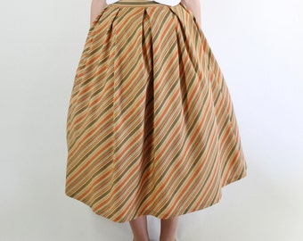 SALE - Vintage 90s does 50s Light Brown Orange Stripes Summer Midi Skirt