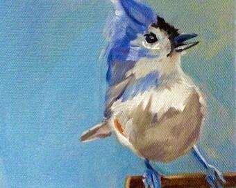 Tufted Titmouse Mini Painting