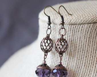 Copper Spiral Ball with Large Purple Gem Dangle Earrings