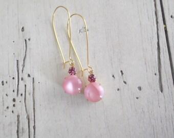 Dainty Pink Earrings Gold Plated Dangle Earrings