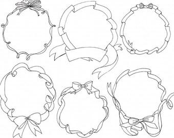 Circle Frame ClipArt,  Ribbon Wreath Digital Stamp Silhouette + Line Art, Doodled Banner Frame Clip Art, Wedding Monogram Frame